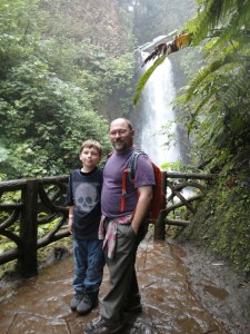 Terry with his son Bruce McGlynn (a fifth grader) in the field this summer.