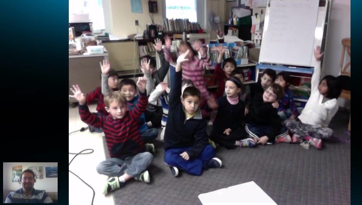 David (bottom left) Skyping with first graders in Mrs. Podolak's class.