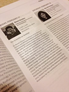 The description of Oreskes talk in the program. Photo by me.